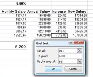 using Goal Seek in Microsoft Excel