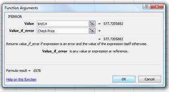 using IFERROR in Microsoft Excel 2007