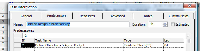Linking Tasks in Microsoft Project